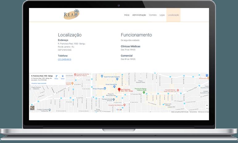 Localização do Real Shopping Bangu.