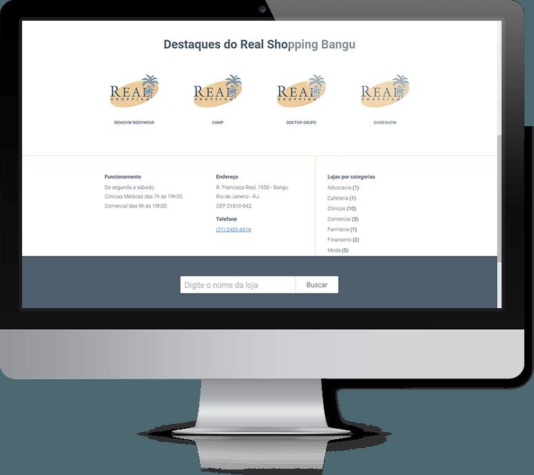 Destaques do site do Real Shopping Bangu.